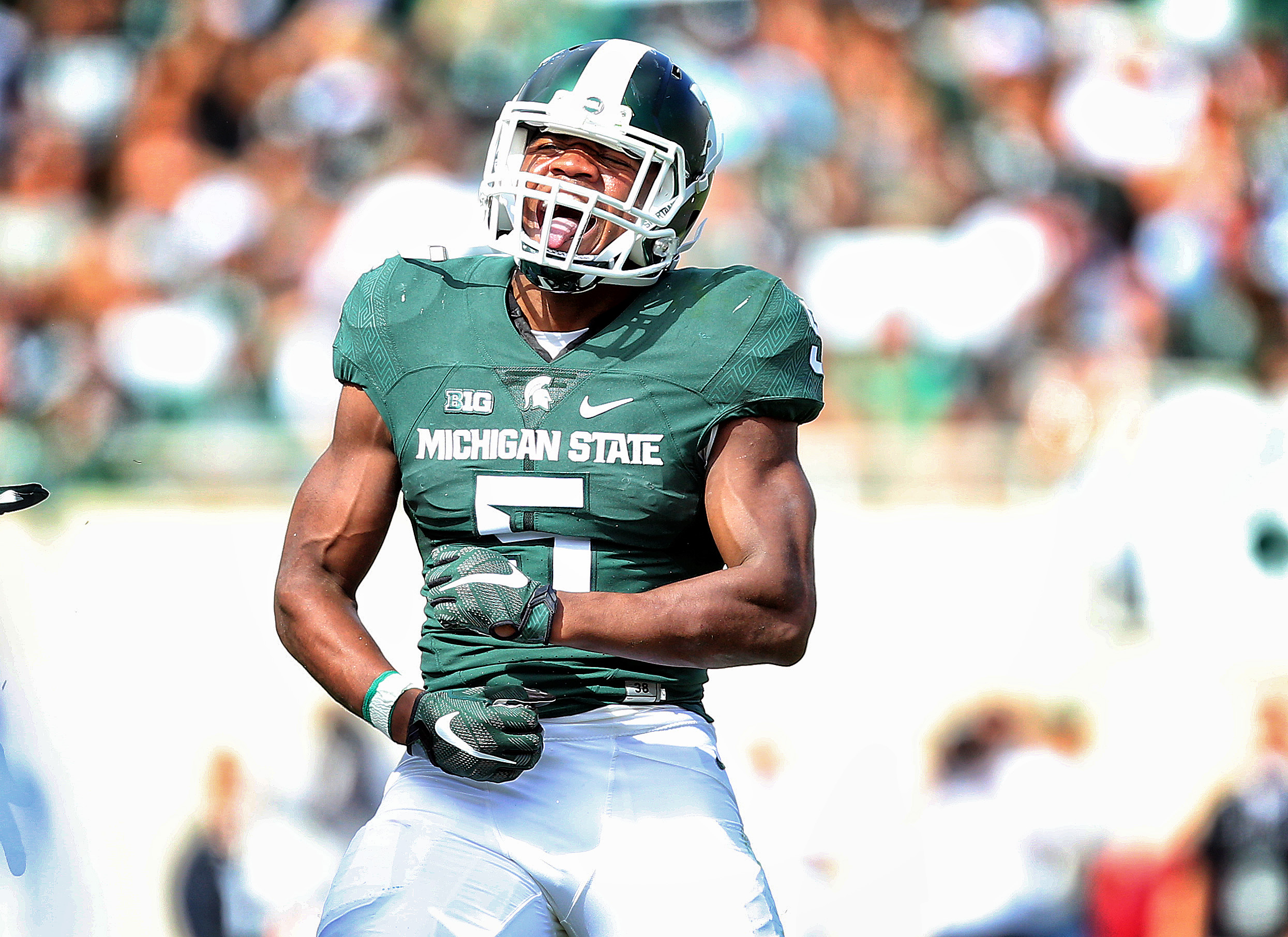 Sep 19, 2015; East Lansing, MI, USA; dMichigan State Spartans linebacker Andrew Dowell (5) celebrates fumble recovery during the 2nd half of a game at Spartan Stadium. MSU won 35-21. Mandatory Credit: Mike Carter-USA TODAY Sports