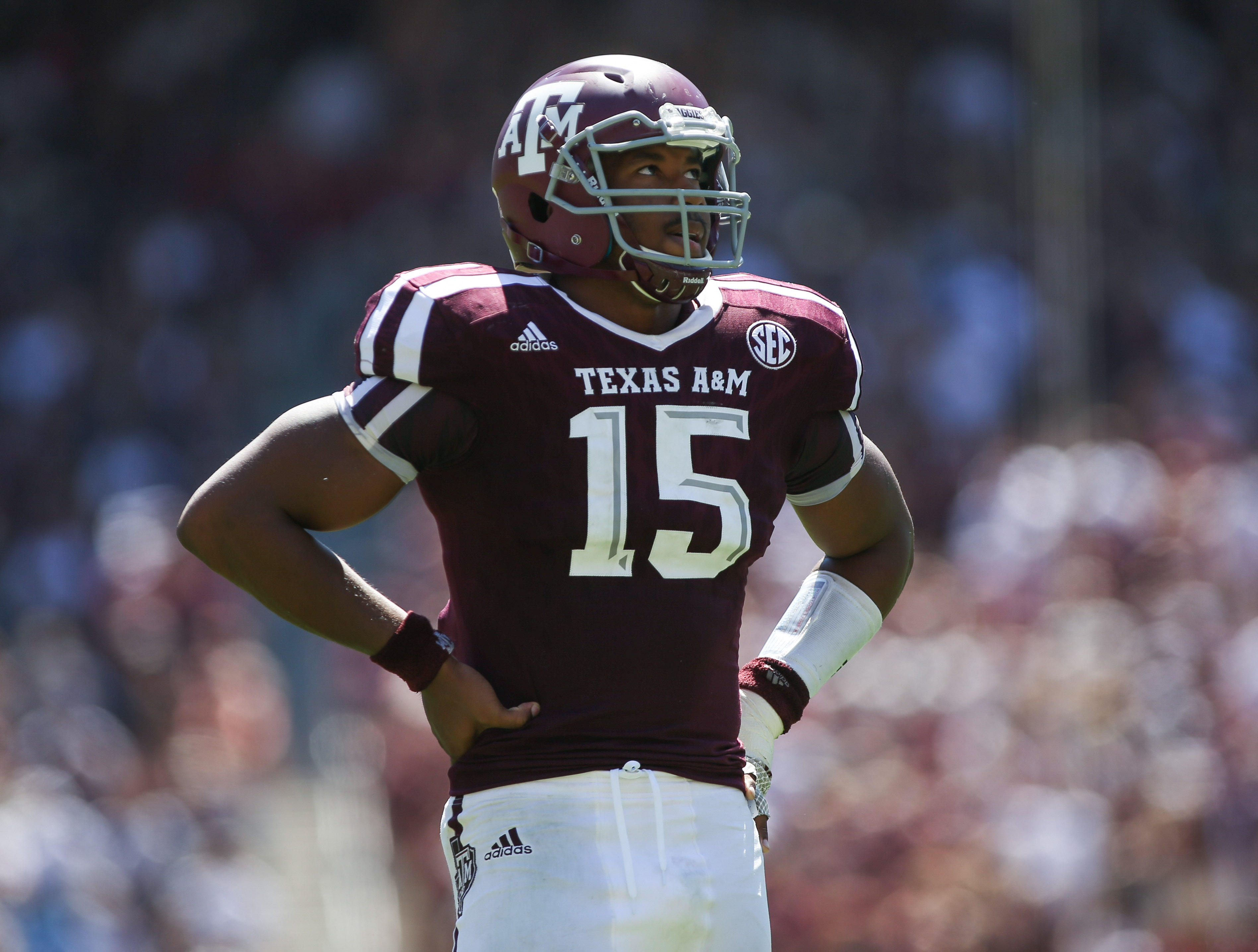 Sep 19, 2015; College Station, TX, USA; Texas A&M Aggies defensive lineman Myles Garrett (15) during the game against the Nevada Wolf Pack at Kyle Field. Mandatory Credit: Troy Taormina-USA TODAY Sports