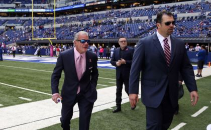 Oct 4, 2015; Indianapolis, IN, USA; Indianapolis Colts owner Jim Irsay and general manager Ryan Grigson walk the sidelines before the game against the Jacksonville Jaguars at Lucas Oil Stadium. Indianapolis defeats Jacksonville 16-13 in overtime. Mandatory Credit: Brian Spurlock-USA TODAY Sports