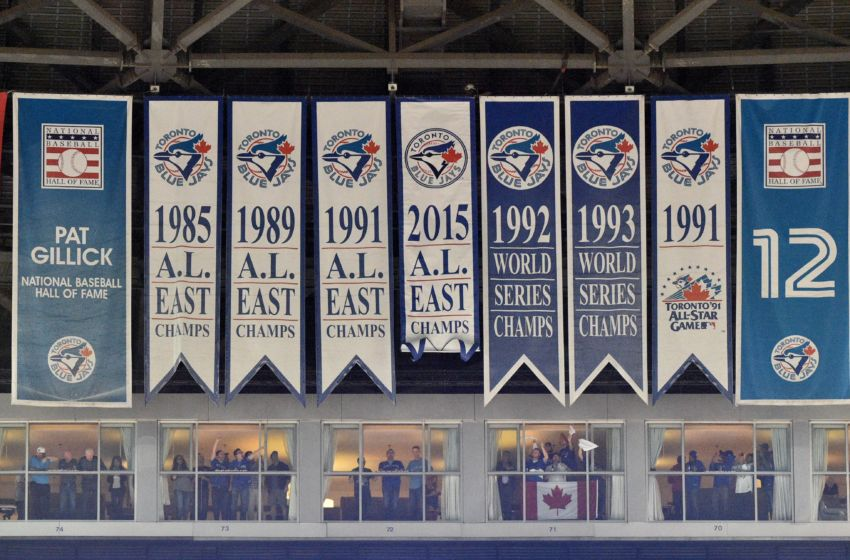 Oct 8, 2015; Toronto, Ontario, CAN; General view of past Toronto Blue Jays banners representing past American League and World Series championships prior to game one of the ALDS against the Texas Rangers at Rogers Centre. Mandatory Credit: Nick Turchiaro-USA TODAY Sports