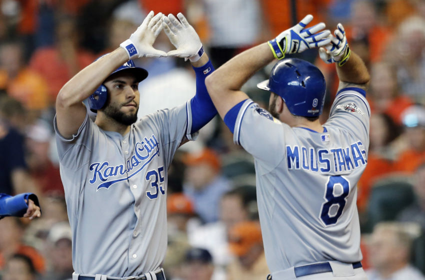 Oct 12, 2015; Houston, TX, USA; Kansas City Royals first baseman Eric Hosmer (35) celebrates with third baseman Mike Moustakas (8) after hitting a two-run home run against the Houston Astros during the ninth inning in game four of the ALDS at Minute Maid Park. Royals won 9-6. Mandatory Credit: Thomas B. Shea-USA TODAY Sports