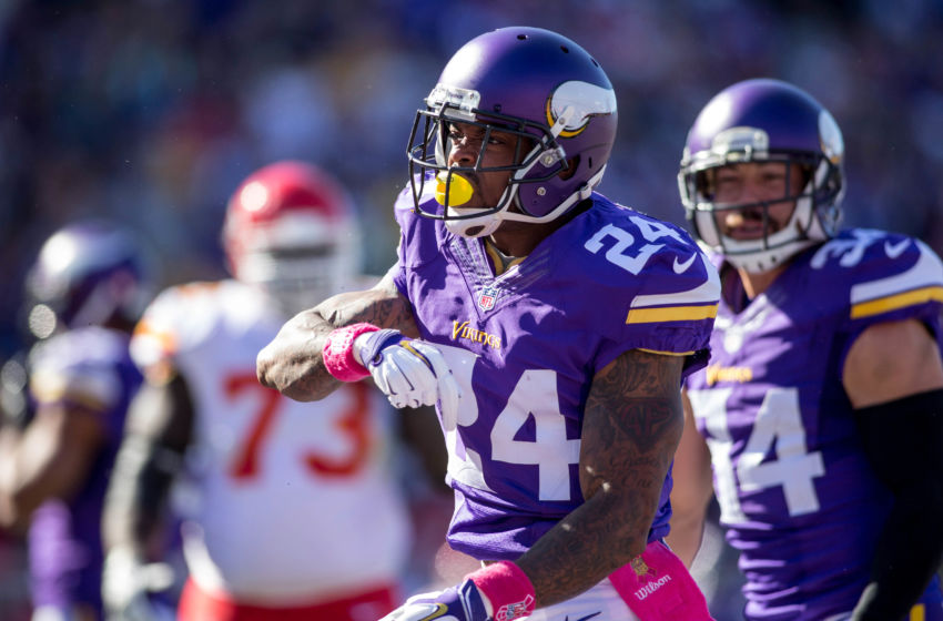 Oct 18, 2015; Minneapolis, MN, USA; Minnesota Vikings cornerback Captain Munnerlyn (24) celebrates his tackle against the Kansas City Chiefs in the first quarter at TCF Bank Stadium. The Vikings win 16-10. Mandatory Credit: Bruce Kluckhohn-USA TODAY Sports