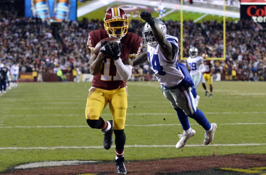 Dec 7, 2015; Landover, MD, USA; Washington Redskins wide receiver DeSean Jackson (11) catches a touchdown in front of Dallas Cowboys cornerback Morris Claiborne (24) during the fourth quarter at FedEx Field. Dallas Cowboys defeated Washington Redskins 19-16. Mandatory Credit: Tommy Gilligan-USA TODAY Sports