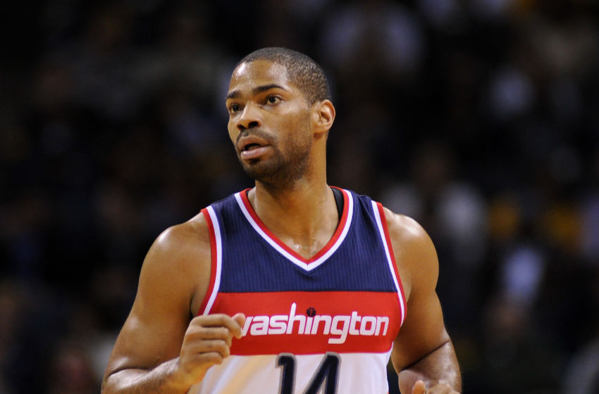 Dec 14, 2015; Memphis, TN, USA; Washington Wizards guard Gary Neal (14) during the game against the Memphis Grizzlies at FedExForum. Memphis Grizzlies beats Washington Wizards 112-92. Mandatory Credit: Justin Ford-USA TODAY Sports