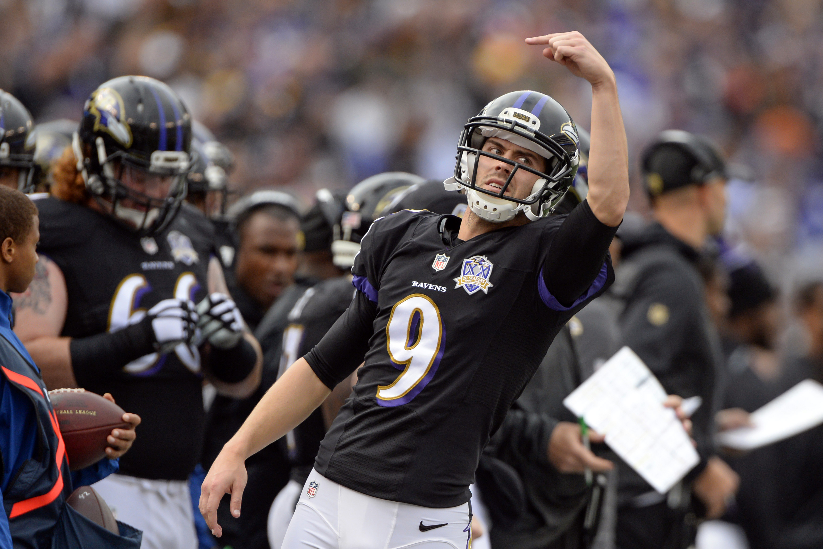 Dec 27, 2015; Baltimore, MD, USA; Baltimore Ravens kicker Justin Tucker (9) signals to wide receiver Kaelin Clay (81) (not pictured) during the second quarter against the Pittsburgh Steelers at M&T Bank Stadium. Mandatory Credit: Tommy Gilligan-USA TODAY Sports
