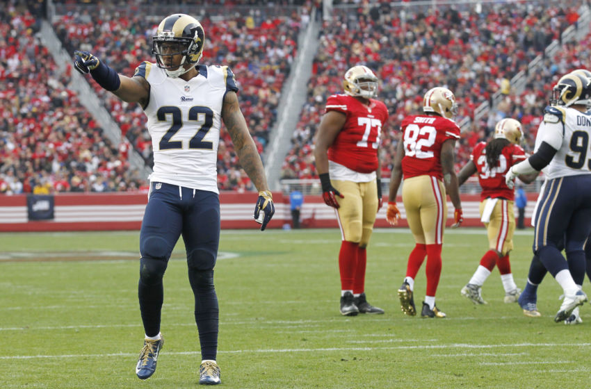 Jan 3, 2016; Santa Clara, CA, USA; St. Louis Rams cornerback Trumaine Johnson (22) reacts after a play against the San Francisco 49ers in the second quarter at Levi's Stadium. Mandatory Credit: Cary Edmondson-USA TODAY Sports