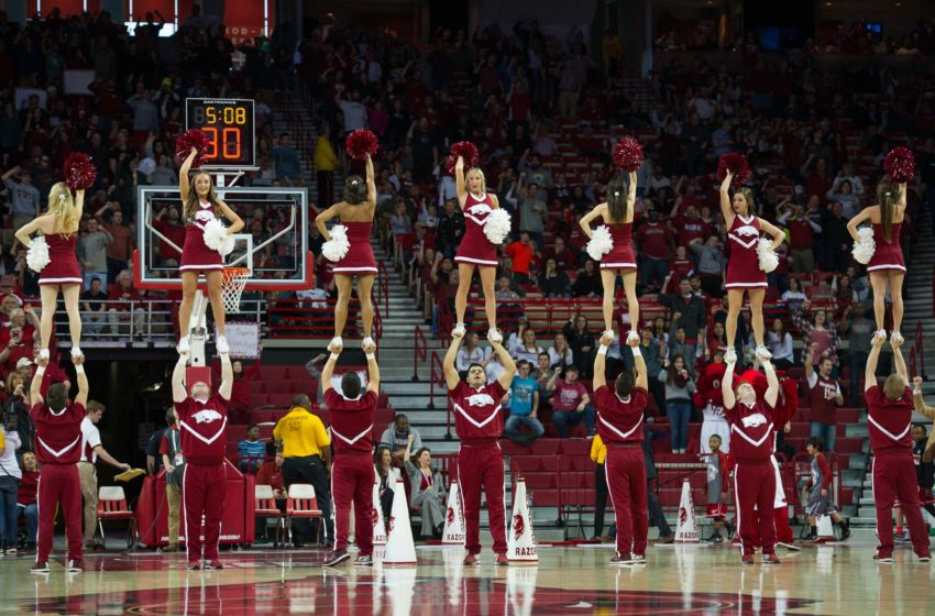 Jan 9, 2016; Fayetteville, AR, USA; Arkansas Razorbacks cheerleaders perform during a timeout in the first half in game against the Mississippi State Bulldogs at Bud Walton Arena. Arkansas won 82-68. Mandatory Credit: Brett Rojo-USA TODAY Sports