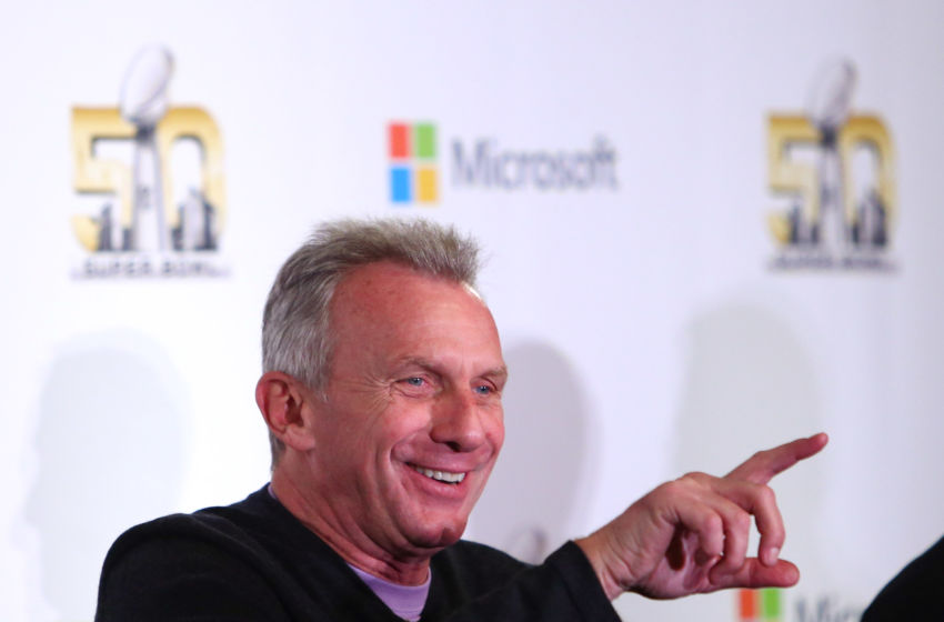 Feb 2, 2016; San Francisco, CA, USA; San Francisco 49ers former quarterback Joe Montana speaks during the Microsoft future of football press conference at Moscone Center in advance of Super Bowl 50 between the Carolina Panthers and the Denver Broncos. Mandatory Credit: Jerry Lai-USA TODAY Sports