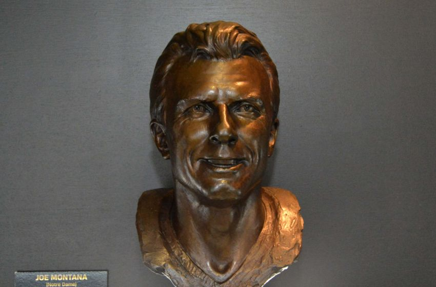Feb 3, 2016; San Francisco, CA, USA; General view of the Pro Football Hall of Fame bust of Joe Montana at the NFL Experience at the Moscone Center. Mandatory Credit: Kirby Lee-USA TODAY Sports