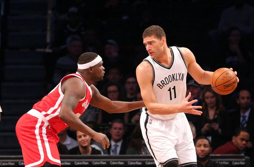 Feb 10, 2016; Brooklyn, NY, USA; Brooklyn Nets center Brook Lopez (11) controls the ball against Memphis Grizzlies power forward Zach Randolph (50) during the first quarter at Barclays Center. Mandatory Credit: Brad Penner-USA TODAY Sports