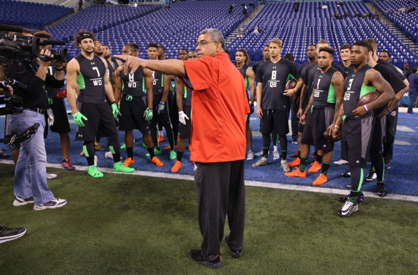 Feb 27, 2016; Indianapolis, IN, USA; Quarterbacks and wide receivers talk during the workout drills during the 2016 NFL Scouting Combine at Lucas Oil Stadium. Mandatory Credit: Brian Spurlock-USA TODAY Sports