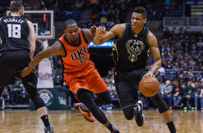 Mar 6, 2016; Milwaukee, WI, USA; Milwaukee Bucks forward Giannis Antetokounmpo (34) drives for the basket against Oklahoma City Thunder forward Kevin Durant (35) in the third quarter at BMO Harris Bradley Center. The Thunder beat the Bucks 104-96. Mandatory Credit: Benny Sieu-USA TODAY Sports
