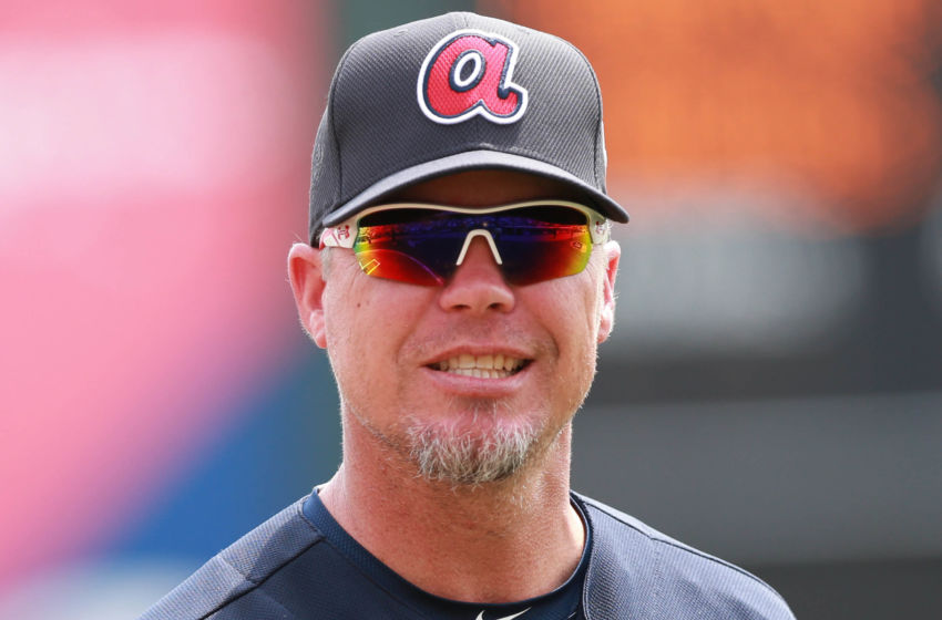 Mar 18, 2016; Lake Buena Vista, FL, USA; Atlanta Braves special guest Chipper Jones (10) prior to the game against the Miami Marlins at Champion Stadium. Mandatory Credit: Kim Klement-USA TODAY Sports