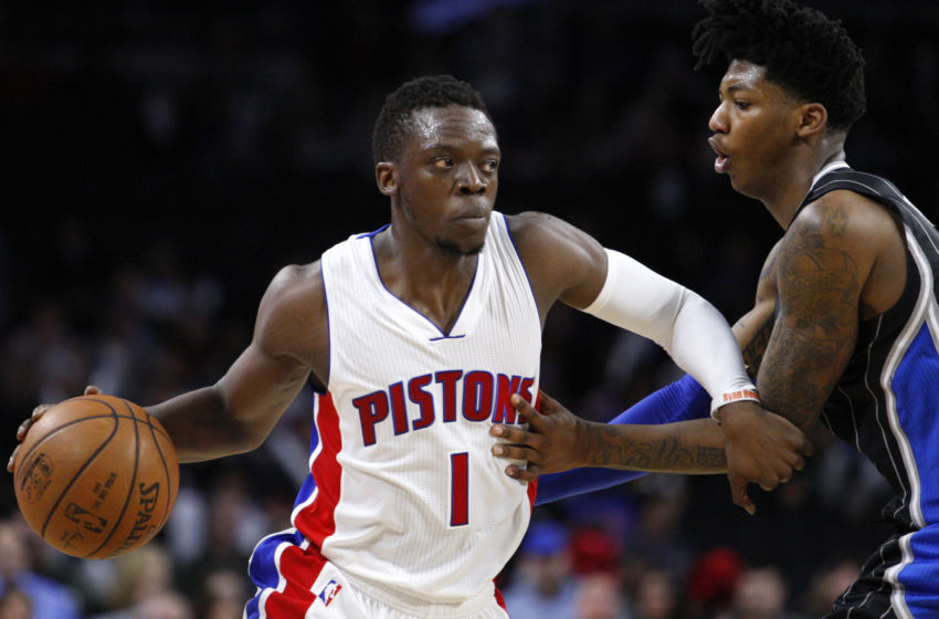 Mar 23, 2016; Auburn Hills, MI, USA; Detroit Pistons guard Reggie Jackson (1) controls the ball defended by Orlando Magic guard Elfrid Payton (4) during the fourth quarter at The Palace of Auburn Hills. Pistons win 118-102. Mandatory Credit: Raj Mehta-USA TODAY Sports
