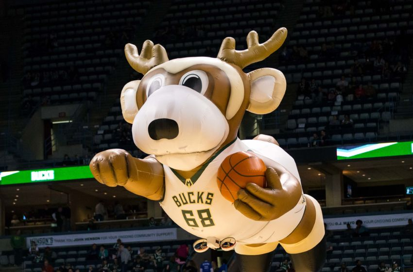 Mar 20, 2016; Milwaukee, WI, USA; A Milwaukee Bucks inflatable of mascot Bango flies prior to the game against the Utah Jazz at BMO Harris Bradley Center. Utah won 94-85. Mandatory Credit: Jeff Hanisch-USA TODAY Sports