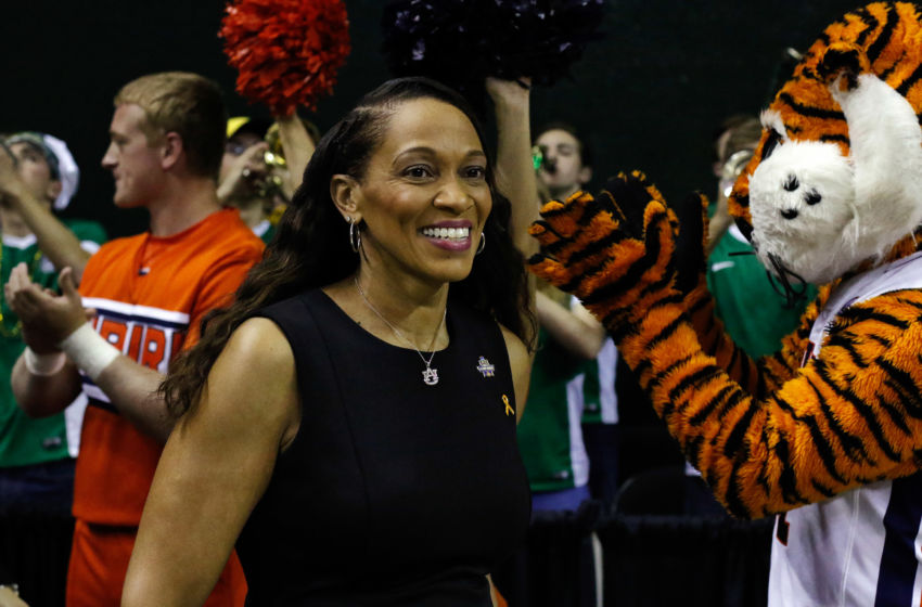 Mar 20, 2016; Waco, TX, USA; Auburn Tigers head coach Terri Williams-Flournoy takes the court prior to the second round of the 2016 women's NCAA Tournament against the Baylor Bears at Ferrell Center. Baylor won 84-52. Mandatory Credit: Ray Carlin-USA TODAY Sports
