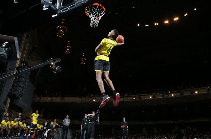 Mar 28, 2016; Chicago, IL, USA; McDonalds All-American forward Terrance Ferguson dunks during the McDonalds All-American Powerade Jamfest at the Chicago Theatre. Mandatory Credit: Brian Spurlock-USA TODAY Sports