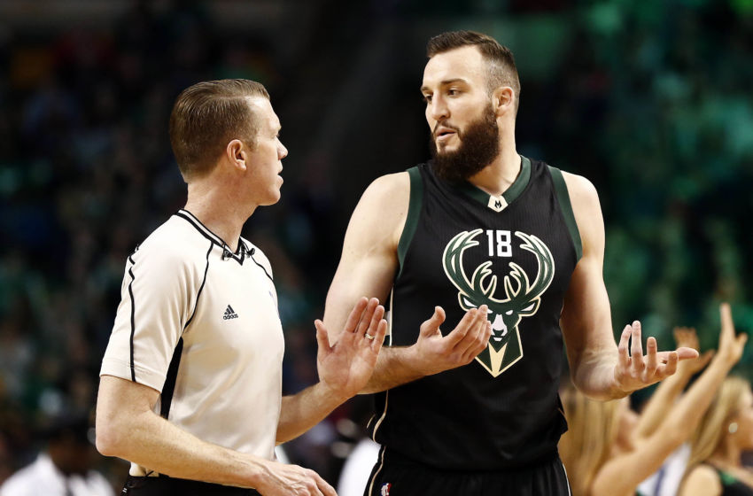 Apr 8, 2016; Boston, MA, USA; Milwaukee Bucks center Miles Plumlee (18) speaks to a referee during the second half of a game against the Boston Celtics at TD Garden. Mandatory Credit: Mark L. Baer-USA TODAY Sports