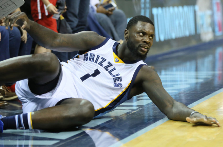 Apr 9, 2016; Memphis, TN, USA; Memphis Grizzlies guard Lance Stephenson (1) looks for a foul during the final seconds of the game against the Golden State Warriors at FedExForum. The Warriors won 100-99. Mandatory Credit: Nelson Chenault-USA TODAY Sports