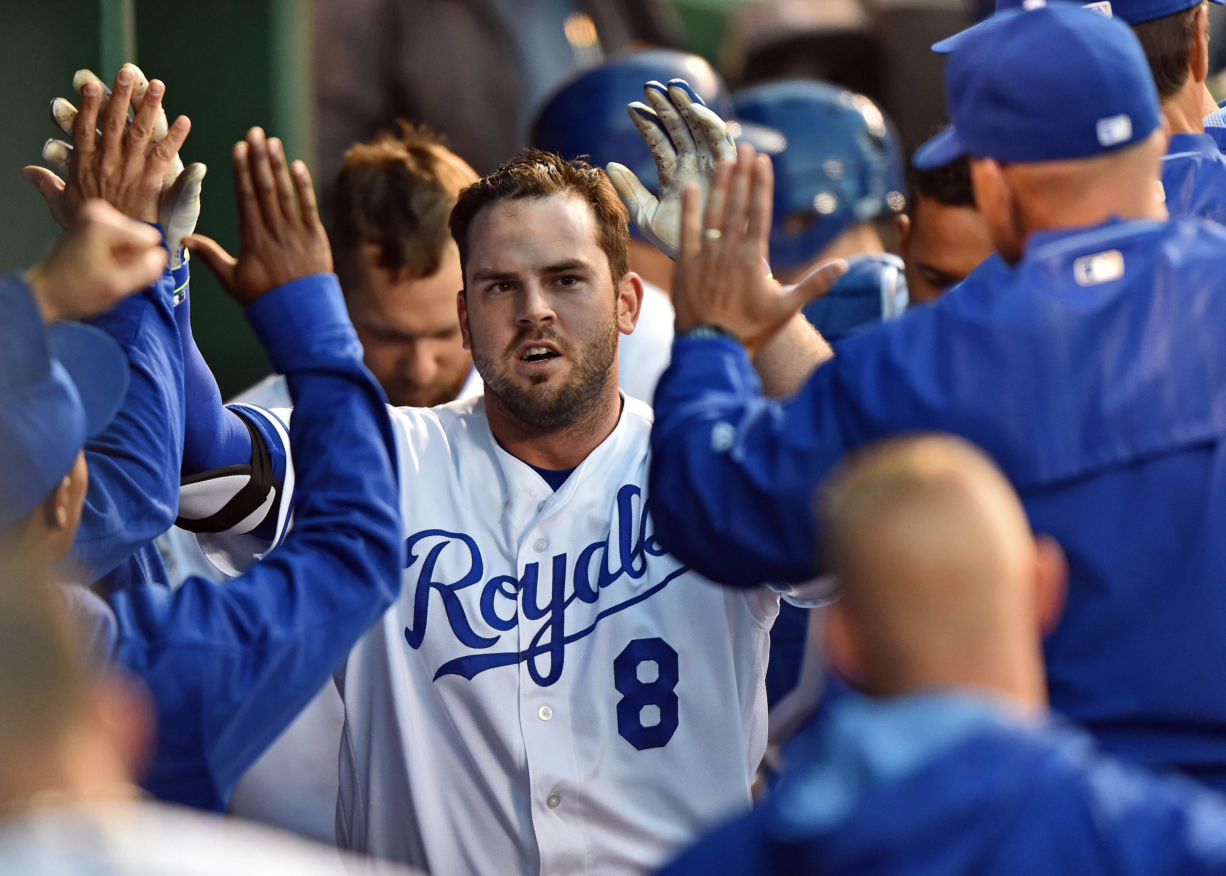 Mike Moustakas is a member of the Kansas City Royals trade block