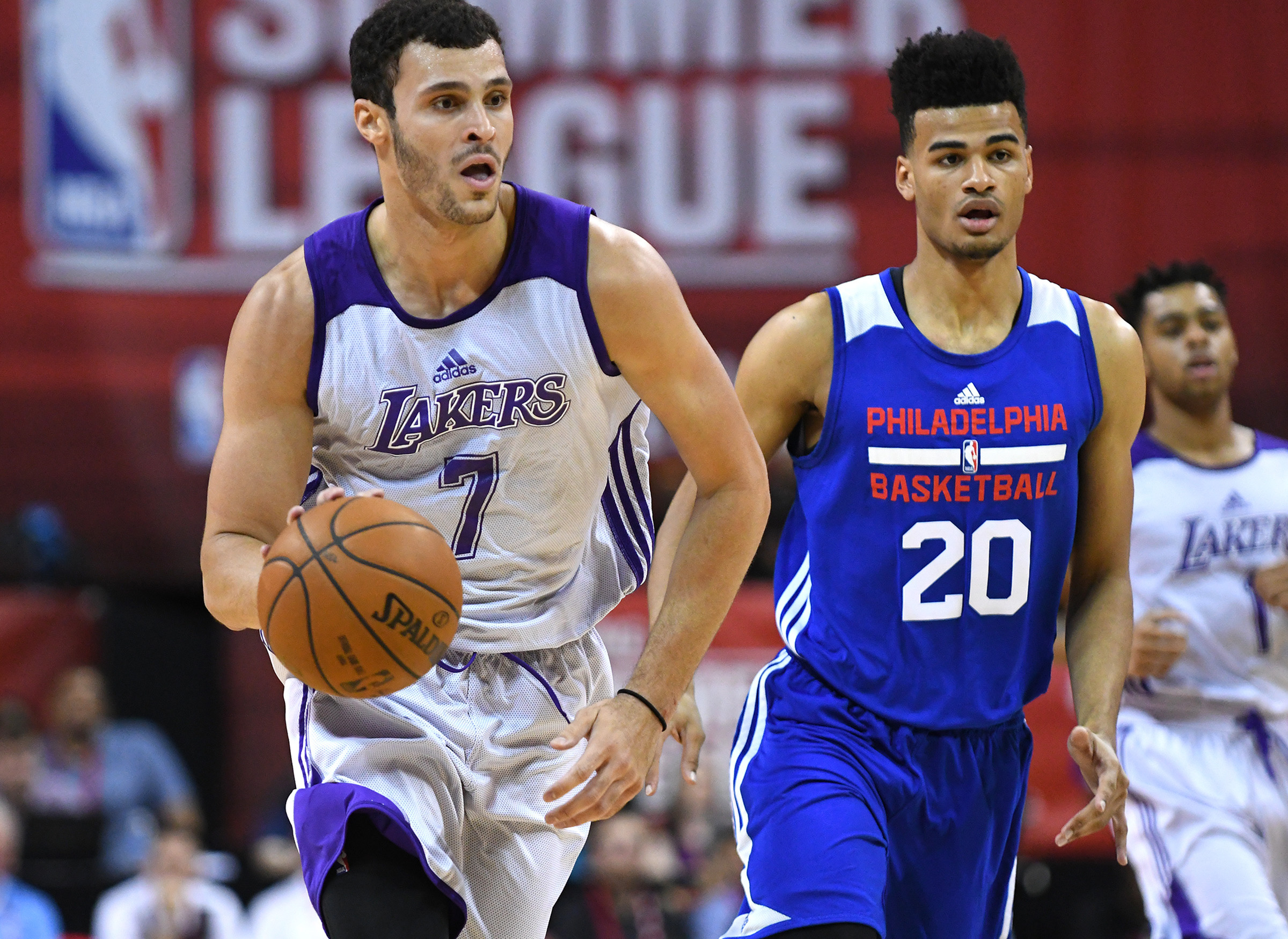Jul 9, 2016; Las Vegas, NV, USA; Los Angeles Lakers forward Larry Nance Jr (7) dribbles the ball during an NBA Summer League game against the Philadelphia 76ers at Thomas & Mack Center. Mandatory Credit: Stephen R. Sylvanie-USA TODAY Sports