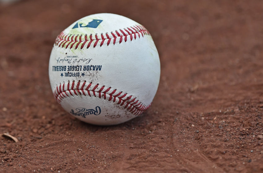 Jul 19, 2016; Kansas City, MO, USA; A general view of a baseball on the field prior to a game between the Cleveland Indians and the Kansas City Royals at Kauffman Stadium. Mandatory Credit: Peter G. Aiken-USA TODAY Sports