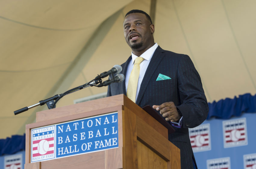 Jul 24, 2016; Cooperstown, NY, USA; Hall of Fame Inductee Ken Griffey Jr. makes his acceptance speech during the 2016 MLB baseball hall of fame induction ceremony at Clark Sports Center. Mandatory Credit: Gregory J. Fisher-USA TODAY Sports