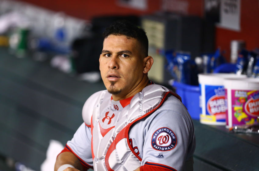 Aug 1, 2016; Phoenix, AZ, USA; Washington Nationals catcher Wilson Ramos against the Arizona Diamondbacks at Chase Field. Mandatory Credit: Mark J. Rebilas-USA TODAY Sports