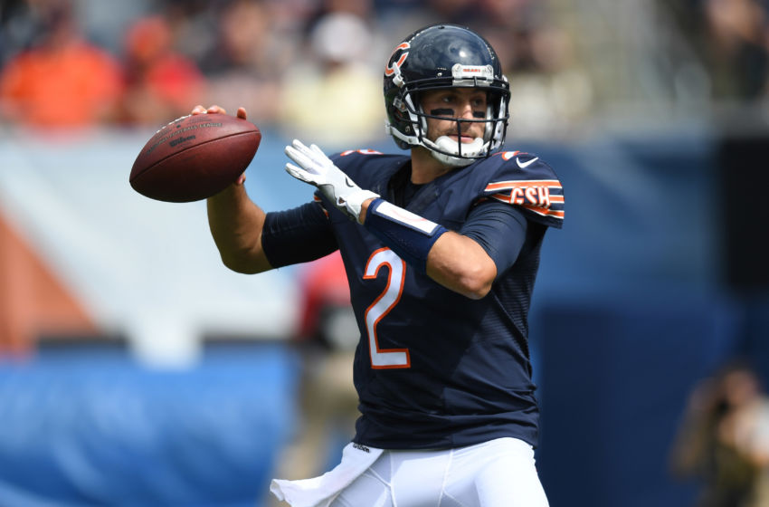 Aug 27, 2016; Chicago, IL, USA; Chicago Bears quarterback Brian Hoyer (2) passes against the Kansas City Chiefs during the second half at Soldier Field. Chiefs won 23-7. Mandatory Credit: Patrick Gorski-USA TODAY Sports