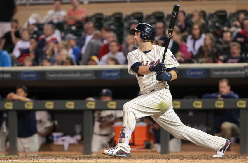 Sep 10, 2016; Minneapolis, MN, USA; Minnesota Twins second baseman Brian Dozier (2) hits a single during the twelfth inning against the Cleveland Indians at Target Field. Minnesota Twins won 2-1. Mandatory Credit: Jordan Johnson-USA TODAY Sports