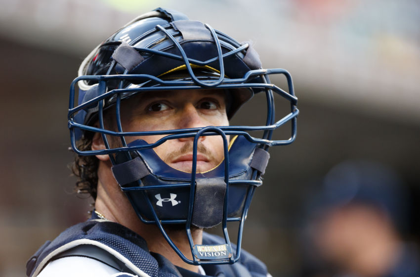 Sep 13, 2016; Detroit, MI, USA; Detroit Tigers catcher Jarrod Saltalamacchia (39) in the dugout prior to the game against the Minnesota Twins at Comerica Park. Mandatory Credit: Rick Osentoski-USA TODAY Sports