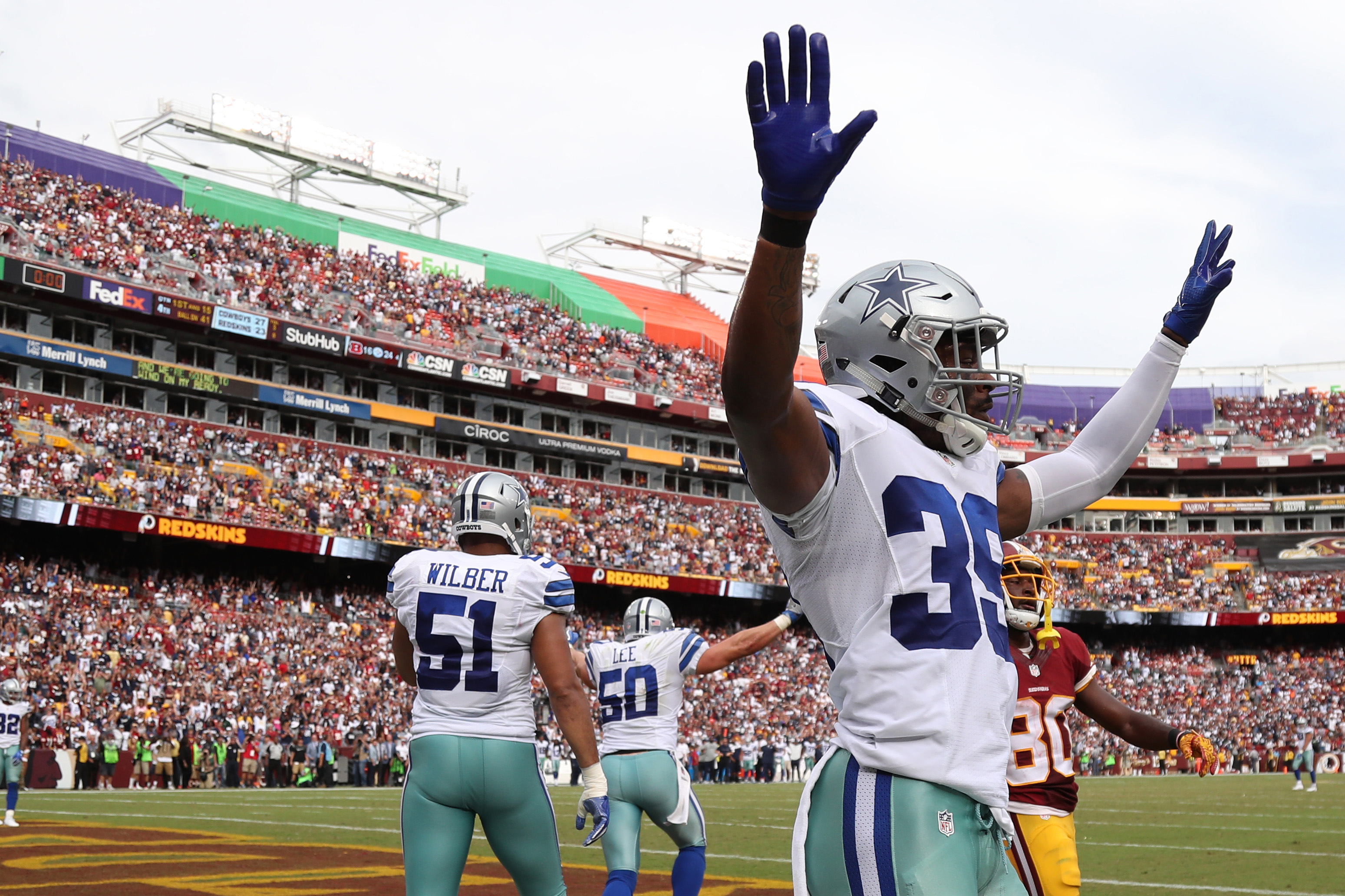 Sep 18, 2016; Landover, MD, USA; Dallas Cowboys cornerback Brandon Carr (39) celebrates after the Cowboys' game against the Washington Redskins at FedEx Field. The Cowboys won 27-23. Mandatory Credit: Geoff Burke-USA TODAY Sports