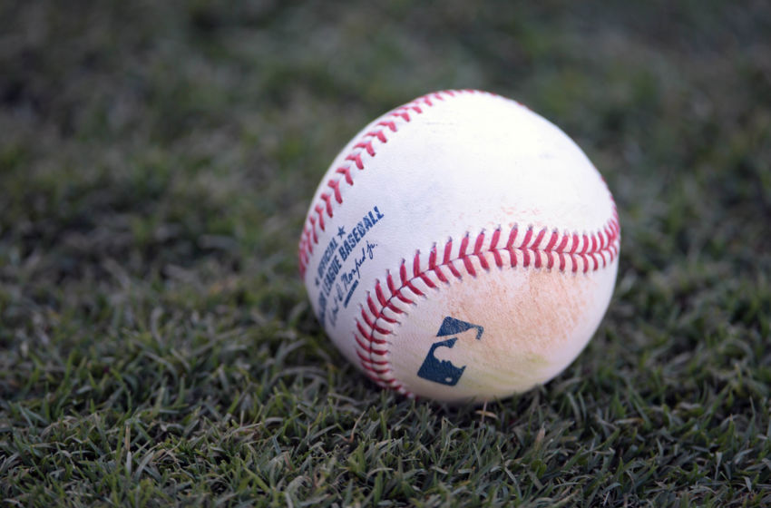 Sep 14, 2016; Anaheim, CA, USA; General view of a Rawlings MLB baseball during a MLB game between the Los Angeles Angels of Anaheim and the Seattle Mariners at Angel Stadium of Anaheim. Mandatory Credit: Kirby Lee-USA TODAY Sports