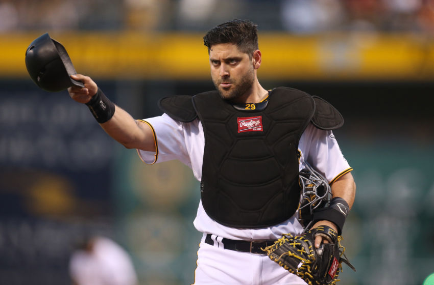 Sep 23, 2016; Pittsburgh, PA, USA; Pittsburgh Pirates catcher Francisco Cervelli (29) gestures to the dugout against the Washington Nationals during the first inning at PNC Park. Mandatory Credit: Charles LeClaire-USA TODAY Sports
