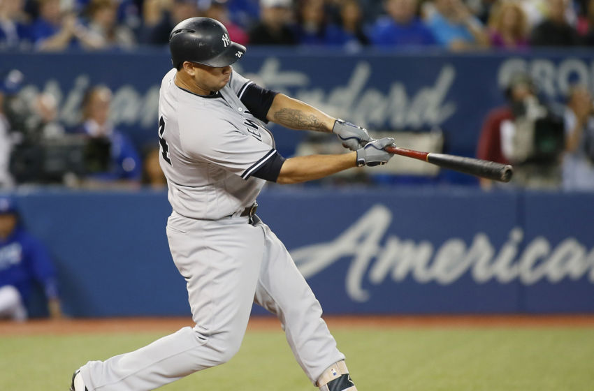 Sep 23, 2016; Toronto, Ontario, CAN; New York Yankees designated hitter Gary Sanchez (24) doubles in the first inning against the Toronto Blue Jays at Rogers Centre. Mandatory Credit: John E. Sokolowski-USA TODAY Sports