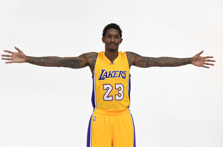 Sep 26 2016 Los Angeles CA USA Los Angeles Lakers guard Lou Williams poses at media day at Toyota Sports Center.. Mandatory Credit Kirby Lee-USA TODAY Sports