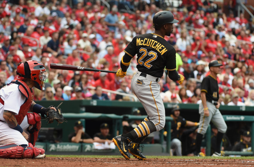 Oct 2, 2016; St. Louis, MO, USA; Pittsburgh Pirates center fielder Andrew McCutchen (22) hits a two run single off of St. Louis Cardinals starting pitcher Adam Wainwright (not pictured) during the fifth inning at Busch Stadium. Mandatory Credit: Jeff Curry-USA TODAY Sports