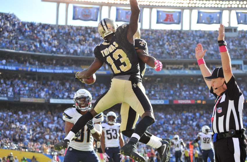Oct 2, 2016; San Diego, CA, USA; New Orleans Saints wide receiver Michael Thomas (13) celebrates after a touchdown during the second half of the game against the San Diego Chargers at Qualcomm Stadium. New Orleans won 35-34. Mandatory Credit: Orlando Ramirez-USA TODAY Sports