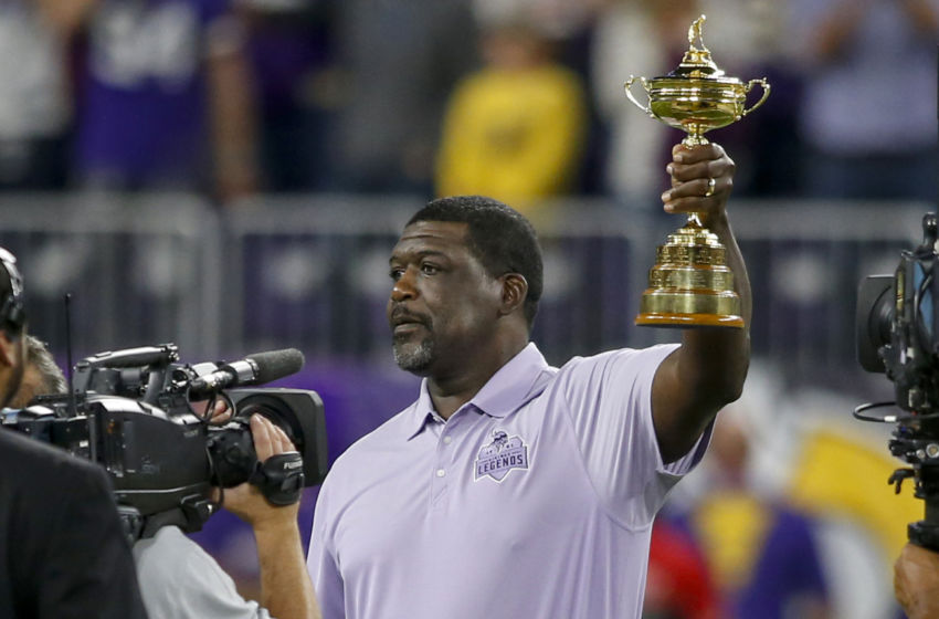 Oct 3, 2016; Minneapolis, MN, USA; Minnesota Vikings former guard Randall McDaniel hoists the Ryder Cup before the game between the Vikings and the New York Giants at U.S. Bank Stadium. The Vikings won 24-10. Mandatory Credit: Bruce Kluckhohn-USA TODAY Sports