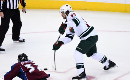 Oct 4, 2016; Denver, CO, USA; Minnesota Wild forward Alex Tuch (53) attempts a shot on goal in the second period during a preseason hockey game against Colorado Avalanche at the Pepsi Center. Mandatory Credit: Ron Chenoy-USA TODAY Sports