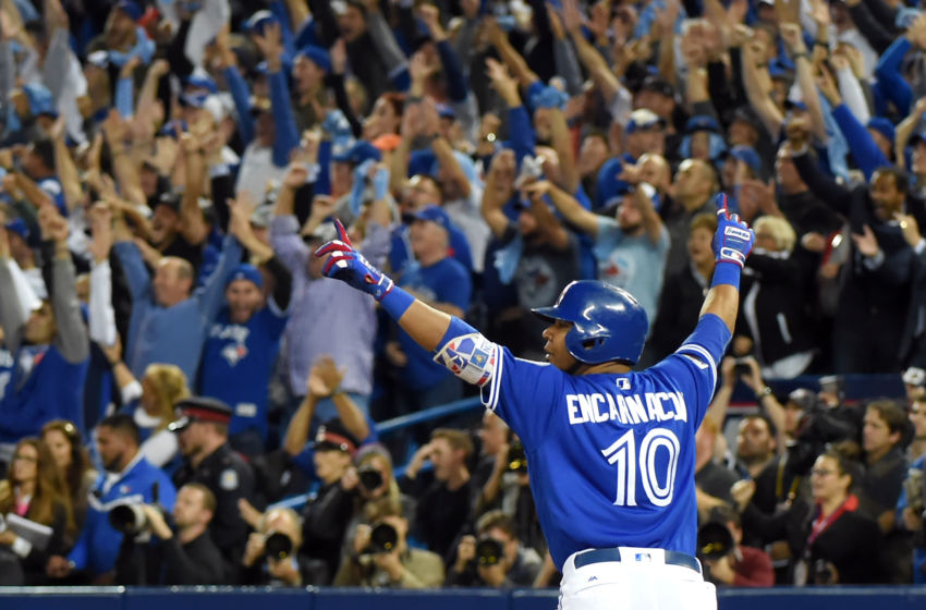 Oct 4, 2016; Toronto, Ontario, CAN; Toronto Blue Jays first baseman <a rel=