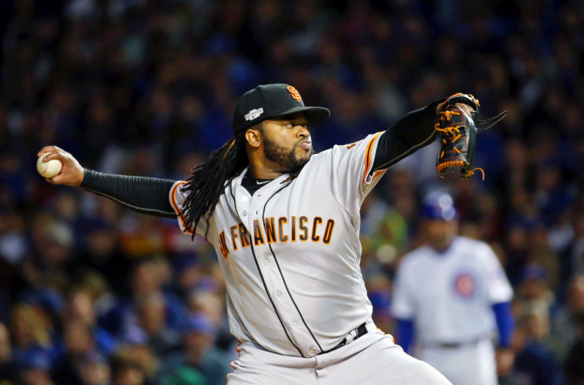 Oct 7, 2016; Chicago, IL, USA; San Francisco Giants starting pitcher Johnny Cueto (47) pitches against the Chicago Cubs during the first inning during game one of the 2016 NLDS playoff baseball series at Wrigley Field. Mandatory Credit: Jerry Lai-USA TODAY Sports