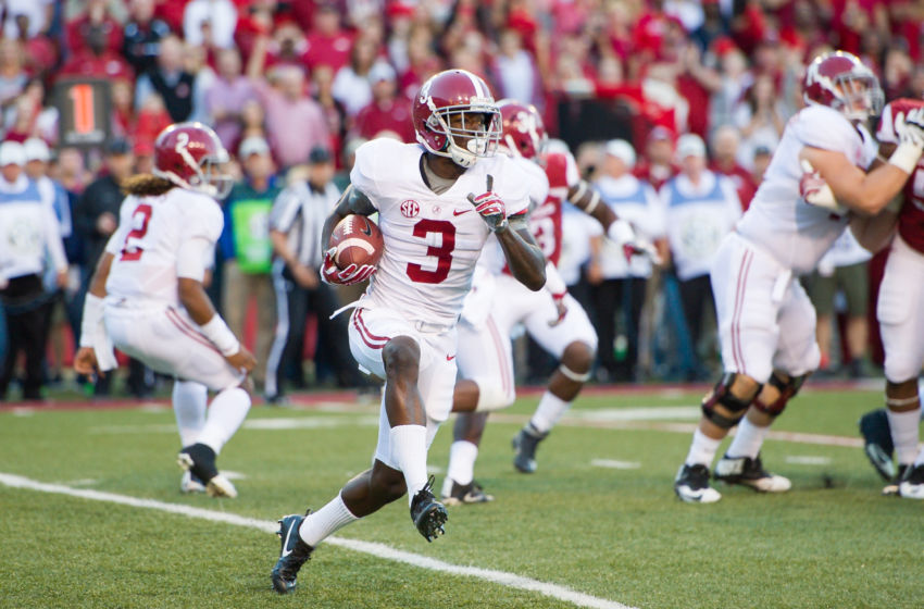 Oct 8, 2016; Fayetteville, AR, USA; Alabama Crimson Tide wide receiver Calvin Ridley (3) runs a reverse during the first quarter of the game against Arkansas Razorbacks at Donald W. Reynolds Razorback Stadium. Mandatory Credit: Brett Rojo-USA TODAY Sports
