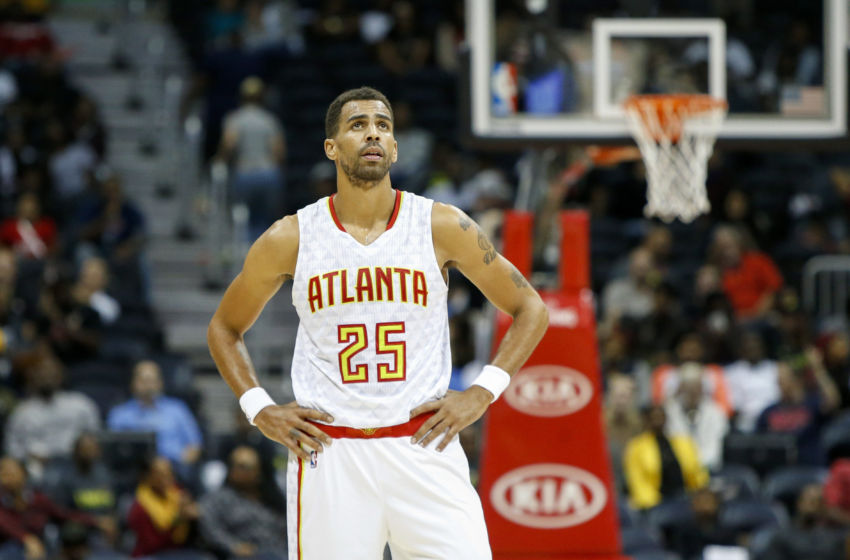 Oct 10, 2016; Atlanta, GA, USA; Atlanta Hawks forward Thabo Sefolosha (25) looks on from the court against the Cleveland Cavaliers in the fourth quarter at Philips Arena. The Hawks won 99-93. Mandatory Credit: Brett Davis-USA TODAY Sports