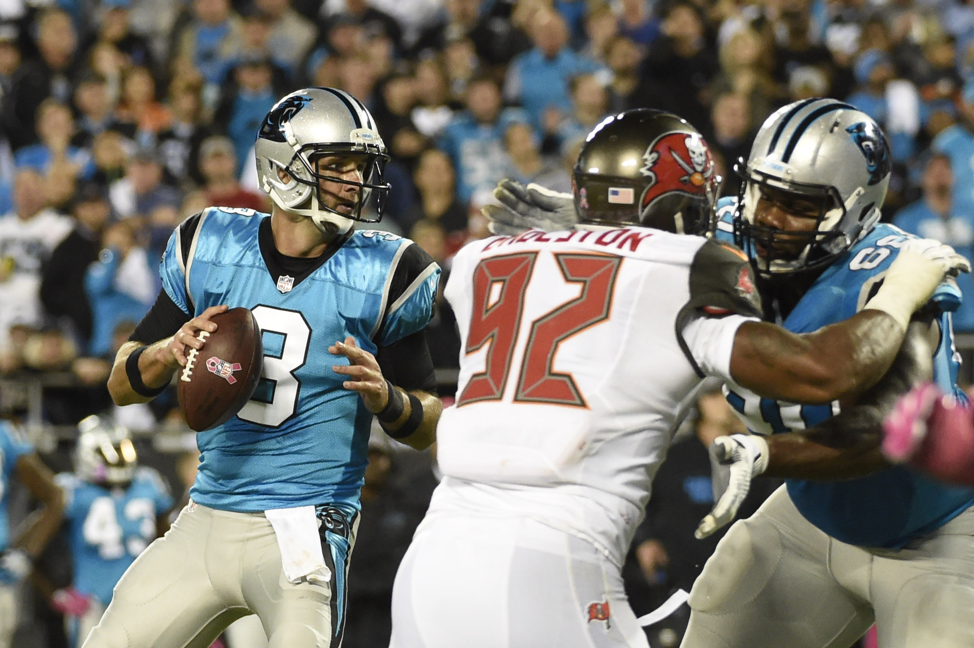 Oct 10, 2016; Charlotte, NC, USA; Carolina Panthers quarterback Derek Anderson (3) looks to pass as Tampa Bay Buccaneers defensive end William Gholston (92) pressures in the third quarter. The Buccaneers defeated the Panthers 17-14 at Bank of America Stadium. Mandatory Credit: Bob Donnan-USA TODAY Sports