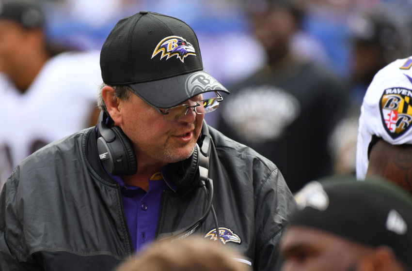 Oct 16, 2016; East Rutherford, NJ, USA; Baltimore Ravens offensive coordinator Marty Mornhinweg during the game against the New York Giants at MetLife Stadium. Mandatory Credit: Robert Deutsch-USA TODAY Sports