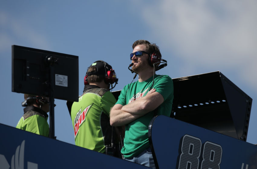 Oct 21, 2016; Talladega, AL, USA; Dale Earnhardt Jr. looks on from the Nationwide hauler during practice for the Alabama 500 at Talladega Superspeedway. Mandatory Credit: Marvin Gentry-USA TODAY Sports