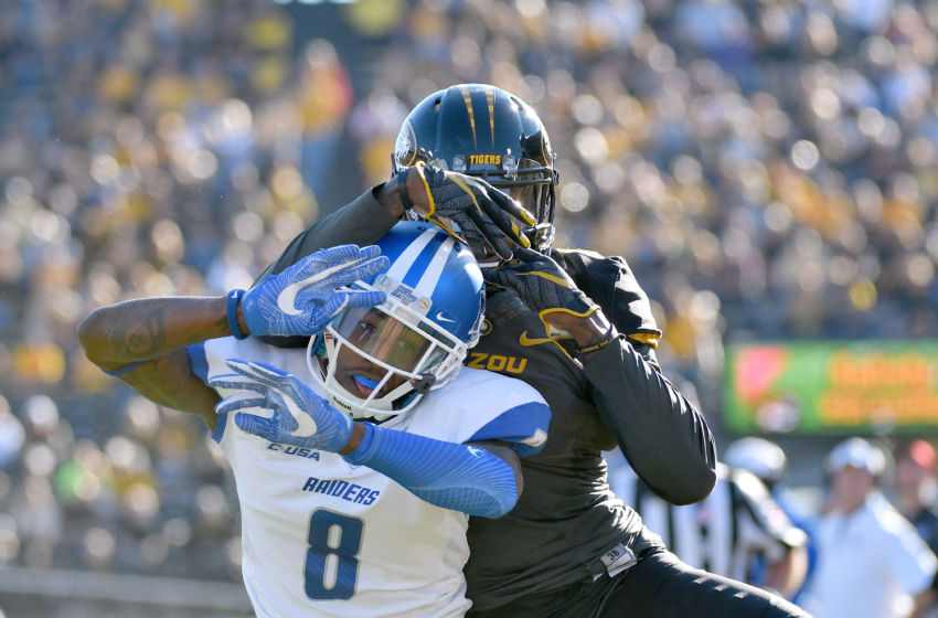 Oct 22, 2016; Columbia, MO, USA; Middle Tennessee Blue Raiders cornerback Jeremy Cutrer (8) breaks up a pass intended for Missouri Tigers wide receiver J'Mon Moore (6) during the first half at Faurot Field. Mandatory Credit: Denny Medley-USA TODAY Sports