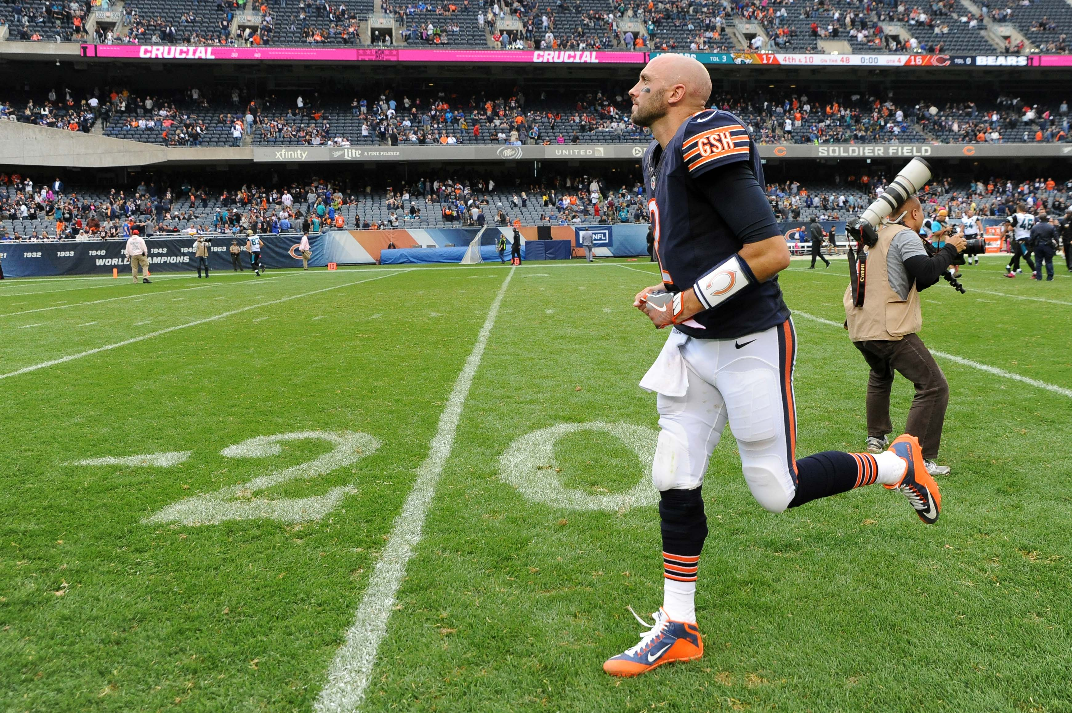 Oct 16, 2016; Chicago, IL, USA; Chicago Bears quarterback Brian Hoyer (2) exits the field after their loss against the Jacksonville Jaguars at Soldier Field. Jaguars won 17-16. Mandatory Credit: Patrick Gorski-USA TODAY Sports