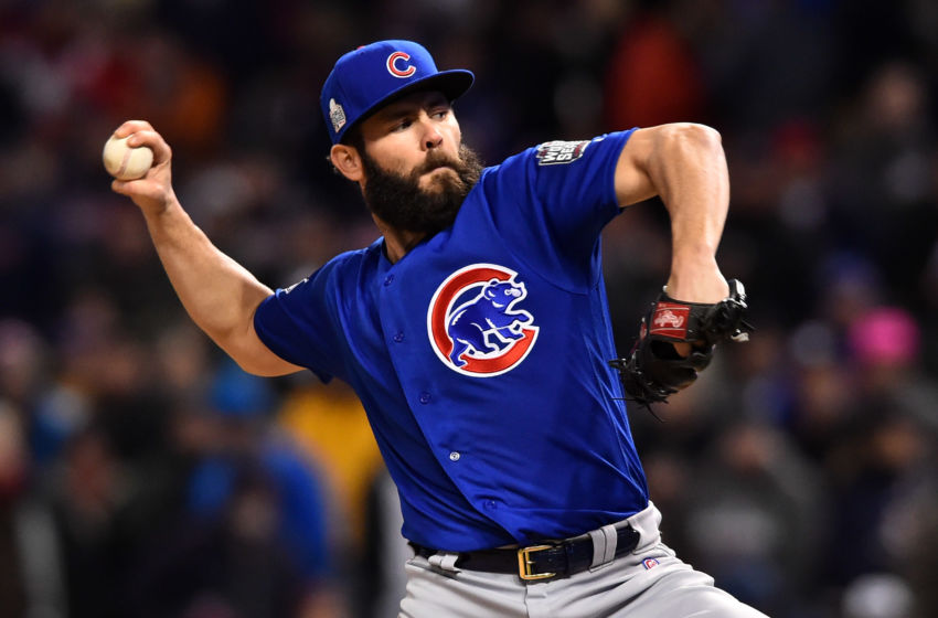 Oct 26, 2016; Cleveland, OH, USA; Chicago Cubs starting pitcher Jake Arrieta throws a pitch against the Cleveland Indians in the fifth inning in game two of the 2016 World Series at Progressive Field. Mandatory Credit: Ken Blaze-USA TODAY Sports